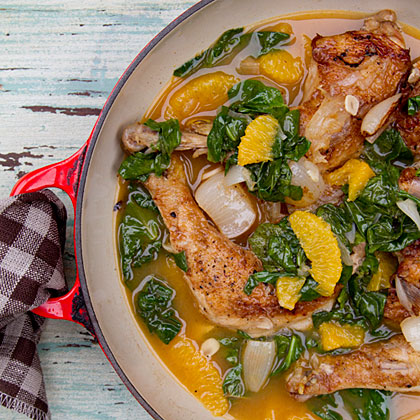 Cane Vinegar Chicken with Pearl Onions, Orange, and Spinach