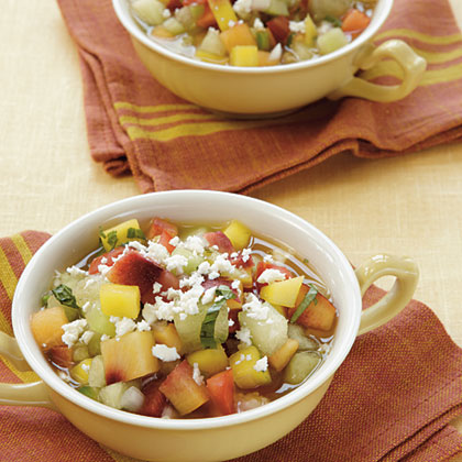 Chunky Tomato-Fruit Gazpacho                            RecipeThe mangoes, melons, and nectarines, along with crunchy cucumber, give this chilled soup a sweet spin.
