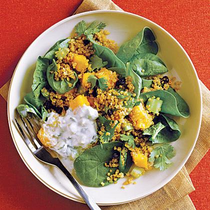Curried Quinoa Salad with Cucumber-Mint Raita Recipe
