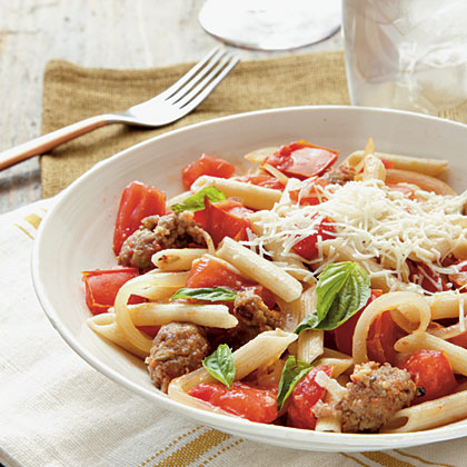 Fresh Tomato, Sausage, and Pecorino PastaRecipe