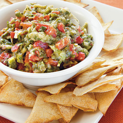 ... Garlic, Poblano, and Red Pepper Guacamole with Homemade Tortilla Chips