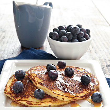 Sour Cream–Blueberry Pancakes RecipeAdding sour cream to the gluten-free pancake batter makes the pancakes extra moist and tender. Topping the pancakes with blueberries makes them extra tasty.