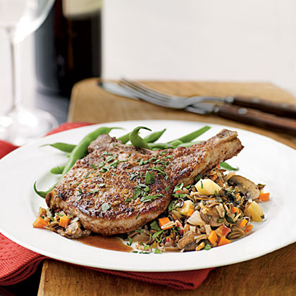 Walnut-Crusted Pork Chops with Autumn Vegetable Wild Rice Recipe