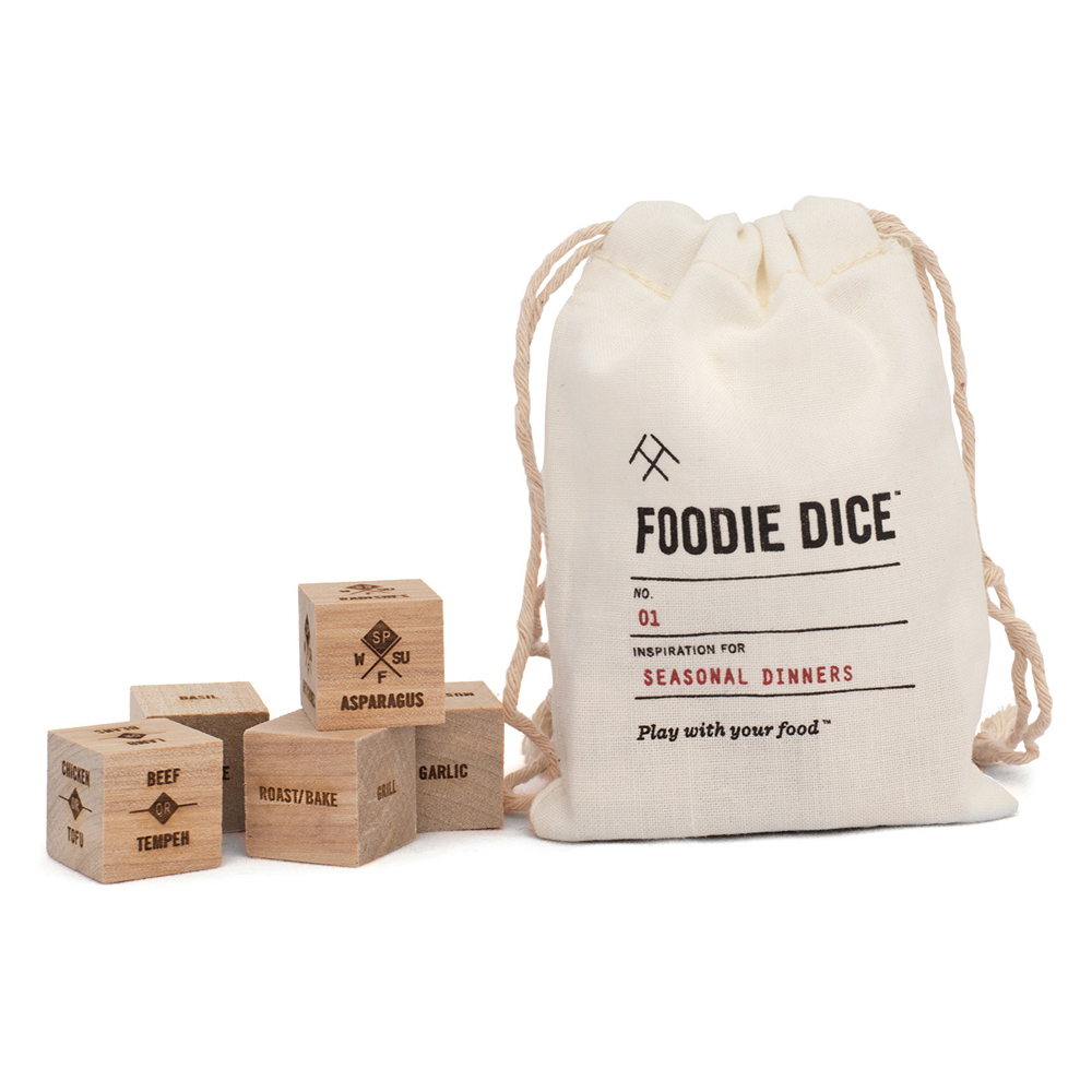 Foodie DiceThe cook on your holiday shopping list will love these fun Foodie Dice that make sure no two meals are alike. All you do is roll the dice and accept the cooking challenge!