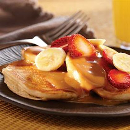 Banana Peanut Butter Pancakes with Peanut Butter Syrup