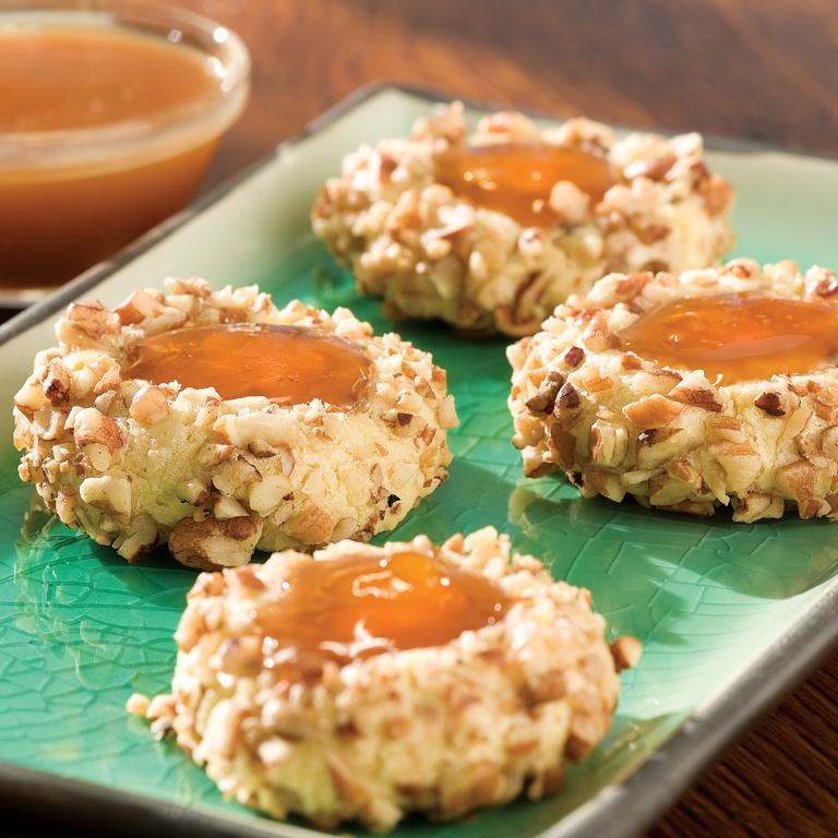 Caramel Apricot Thumbprint Cookies