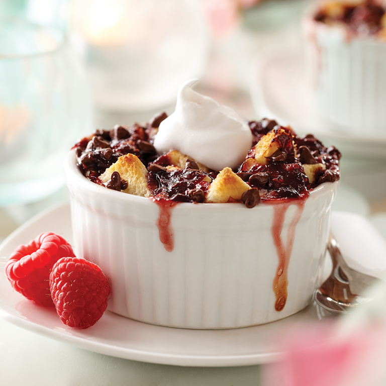 Warm Raspberry Chocolate Bread Pudding