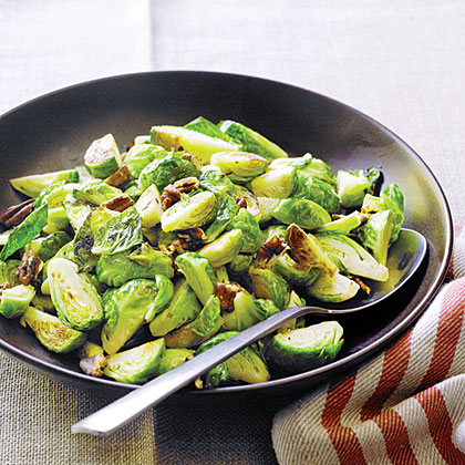 The pecans add a bit of sweetness to these sauteed brussels sprouts.Sauteed Brussels Sprouts with Pecans Recipe