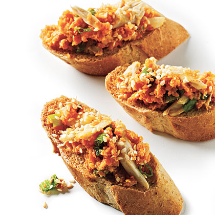 Crab Toast with Carrot and Scallion Recipe