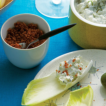 Endive  Chips  with Blue Cheese Dip and Bacon Dust