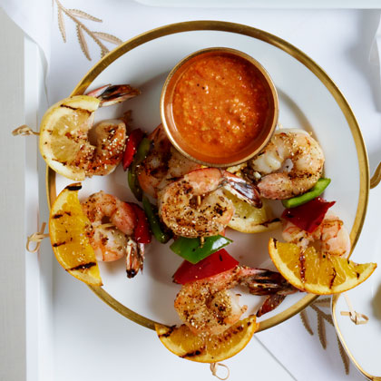<p>Grilled Shrimp and Citrus Skewers</p>
