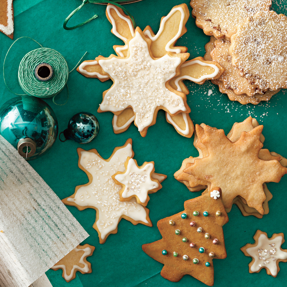 Iced Sugar Cookies RecipeDecorate with dragée (sometimes called sugar pearls), gold or silver dust, and coarse or sparkling sugar.