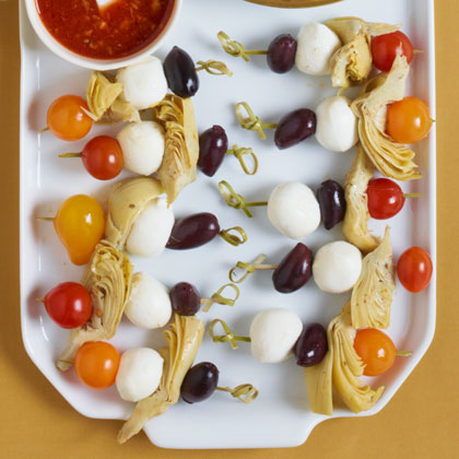 Mediterranean Skewers with Bloody Mary Vinaigrette