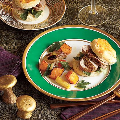 Pork Tenderloin with Herbed Biscuits Recipe