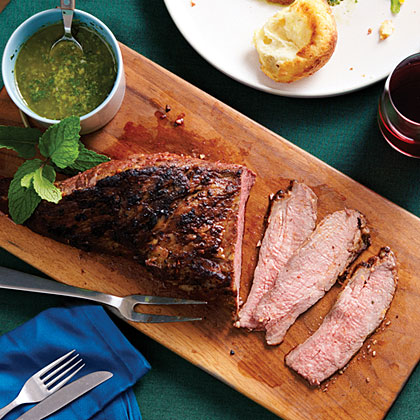 Garlic-Rubbed Tri-Tip with Mint Caper Salsa Recipe