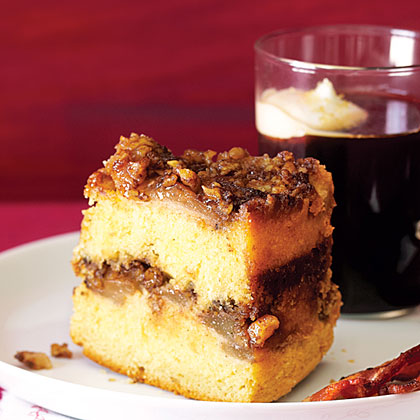 Upside-Down Sour Cream Coffee Cake with Sherry-Roasted PearsRecipe