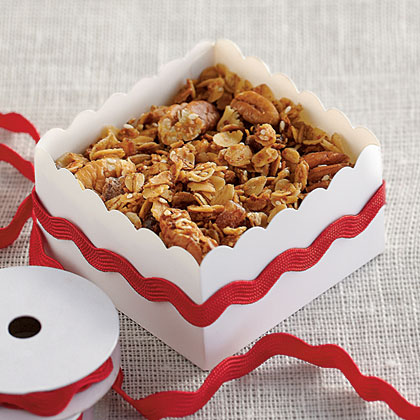 Butter-Pecan Granola                            RecipePackage this sweet and crunch granola in decorate boxes or jars and attach a tag with serving suggestions.