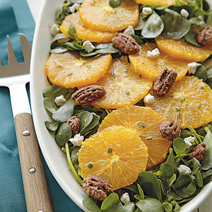 Spiced Orange Salad with Goat Cheese and Glazed PecansRecipe