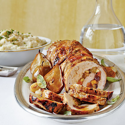 Spicy Fruit-Stuffed Pork Loin with Roasted Pears and Onions