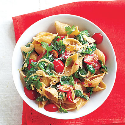 Spinach-Tomato Pasta Shells