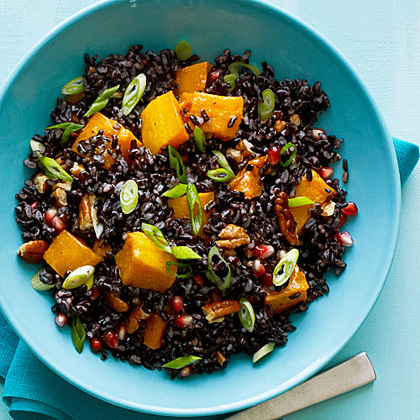 Black Rice Salad Amp Butternut Squash Amp Pomegranate Seeds Recipe Myrecipes