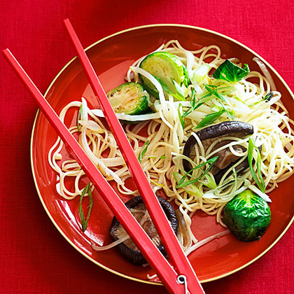 Brussels Sprouts and Shiitake Lo Mein