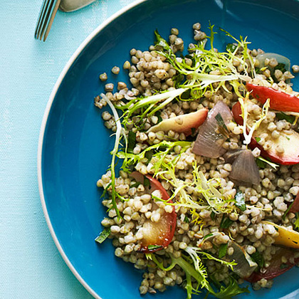 Warm Buckwheat Salad with Roasted Shallots, Apples, and Frisée