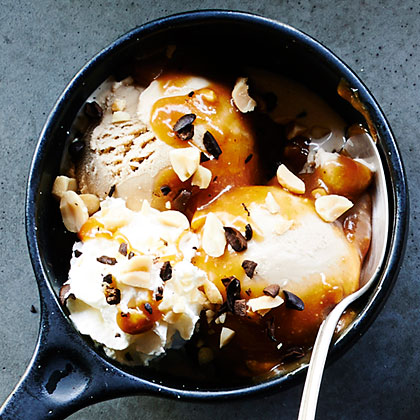 su-Coffee Sundaes with Salted Peanut Butter Caramel