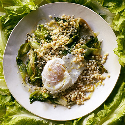 Sautéed Escarole with Toasted Pearl Couscous and Poached Eggs