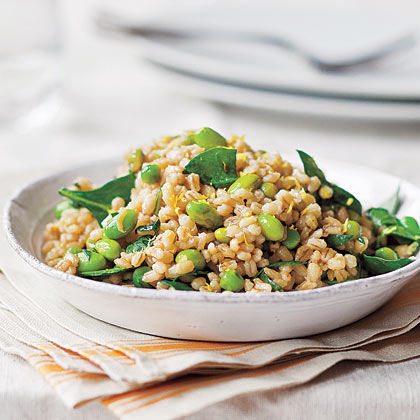 Pearl Barley with Peas and Edamame