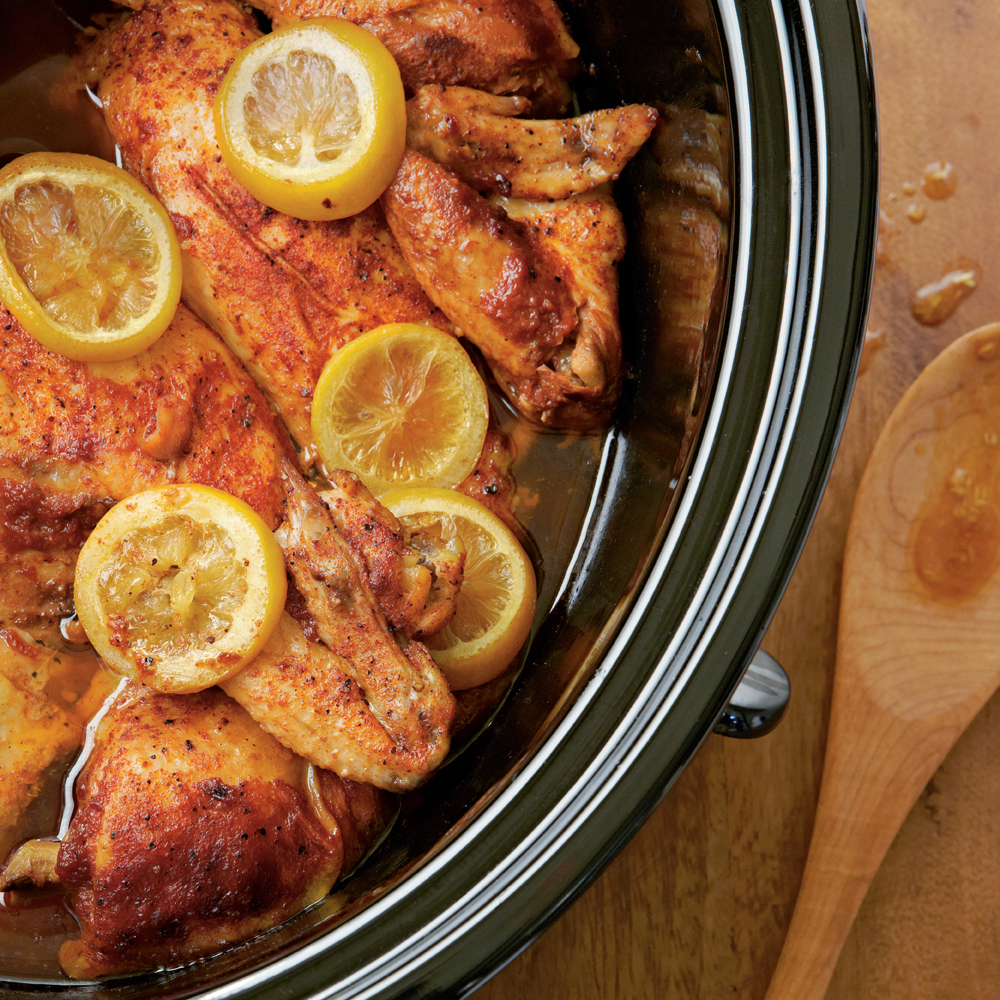 Start with a whole chicken, cut up, and simmer in a homemade barbecue sauce of ketchup, cola, cider vinegar and a splash of bourbon for a Southern barbecue flavor.Slow-cooked Barbecued Chicken Recipe
