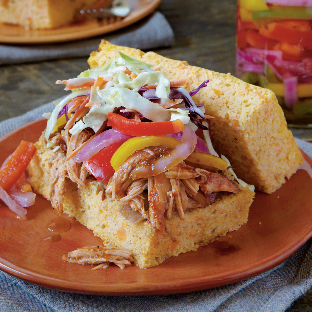 Slow-cooked Barbecued Chicken SandwichesRecipe