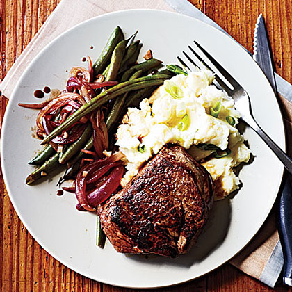 Tenderloin Steaks and Balsamic Green Beans
