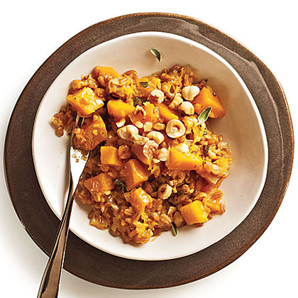 """Farrotto"" with Butternut, Gruyere, and Hazelnuts"