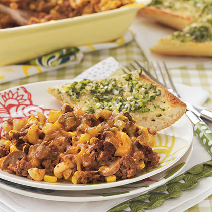 Johnny Marzetti RecipeThis hearty dish brings back childhood memories of family potlucks at Grandma's house.