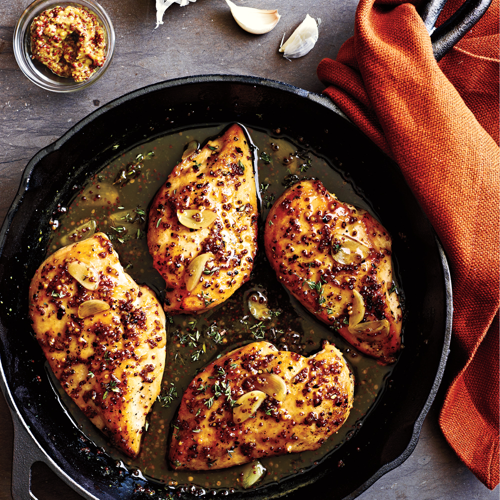 Maple-Mustard Glazed Chicken RecipeThe tangy-sweet flavor combination of this sauce will work equally well with chicken thighs or pork.