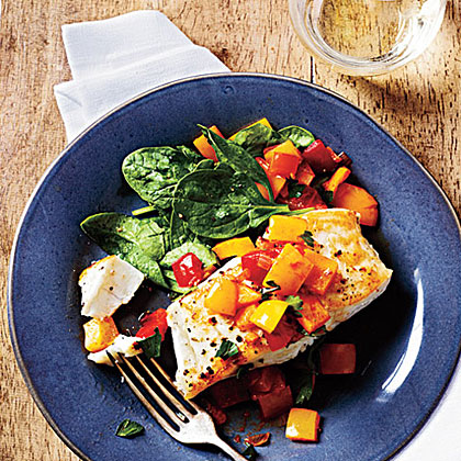 Pan-Seared Halibut with Bell Pepper Relish