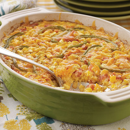 Tangy Corn Casserole RecipeGreat for brunch and summertime celebrations, this side dish gets a little kick from a dash of hot sauce.
