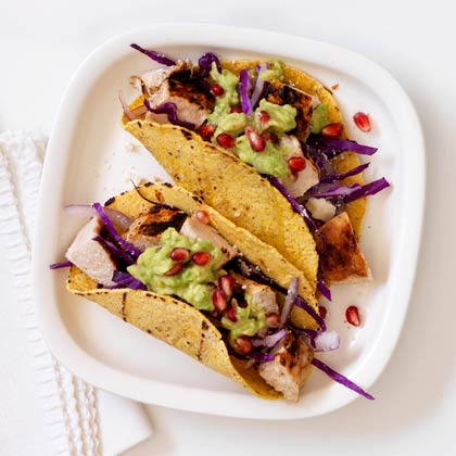 <p>Chicken Pomegranate Guac Tacos</p>