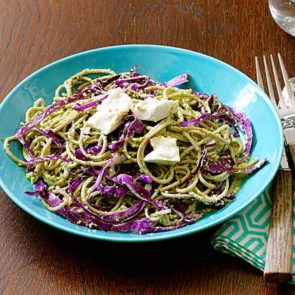 Cold Soba and Feta Salad with Edamame Pesto