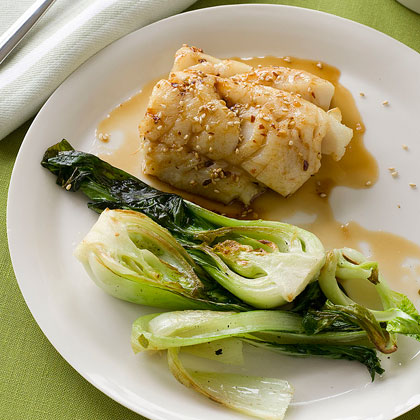 Maple-Glazed Cod with Baby Bok Choy