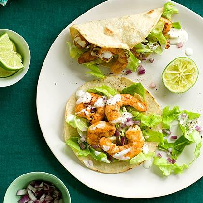 Shrimp Tacos with Lime Crema