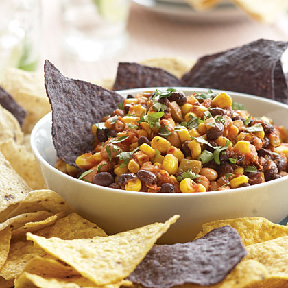 Texas Caviar RecipeThis easy 4-ingredient dip features canned black beans, black-eyed peas, corn and salsa.   Just combine these canned ingredients in a bowl, stir, and chill until serving.