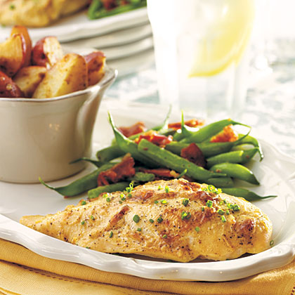 Zesty Roasted Chicken and Potatoes RecipeMade with healthful boneless, skinless chicken breasts, this homestyle roasted chicken recipe is sure to please the whole family.