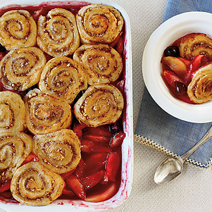 Apple-Cherry Cobbler with Pinwheel Biscuits