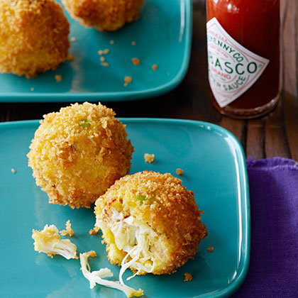 Crab Croquettes RecipeSunset reader Herbert Roebuck of Clovis, California, suggests chilling the formed crab balls for an hour or up to 1 day, if you have time, to make them easier to roll in panko. They're delicious served with tartar sauce in addition to the hot sauce.