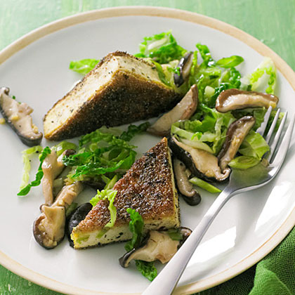 Crisp Genmaicha Tofu with Shiitakes and Savoy Cabbage