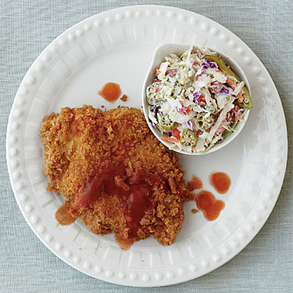 Hot Sauce Fried Chicken with Pickled Okra Slaw