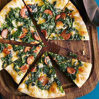 Kale, Chorizo, and Manchego Pizza