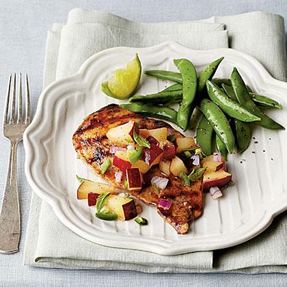Pan-Grilled Chicken with Fresh Plum Salsa Recipe